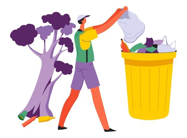 Personaggio maschile che raccoglie spazzatura nel parco o nella foresta che si prende cura della natura. volontariato che raccoglie rifiuti da un albero, uomo con una borsa che pulisce all'aperto. ragazzo volontario del vettore dell'organizzazione ecologista in appartamento