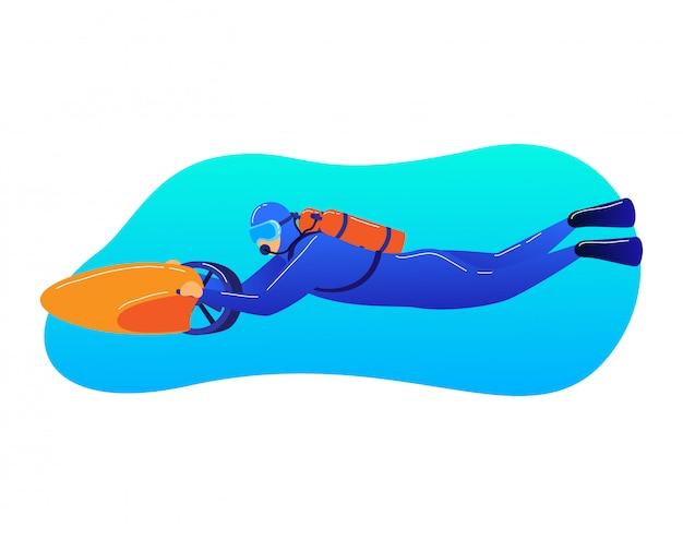 Area subacquea di viaggio dell'operatore subacqueo del personaggio maschile, fondo dell'oceano del movimento del meccanismo di trasporto dell'uomo isolato su bianco, illustrazione del fumetto.