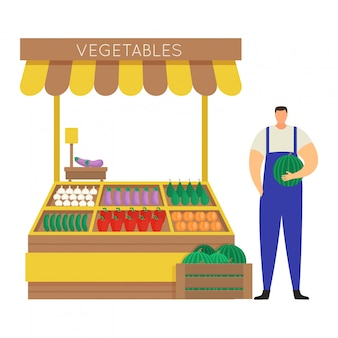 Verdura auto-coltivata di vendita dell'agricoltore del personaggio maschile, mercato di strada di concetto e stalla su bianco, illustrazione. anguria della stretta dell'uomo.
