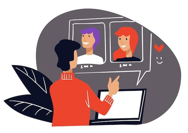 Personaggio maschile che ha videoconferenza con colleghi di lavoro o familiari. uomo che parla con le donne, scegliendo una relazione virtuale e un appuntamento via internet. vettore in stile piatto illustrazione