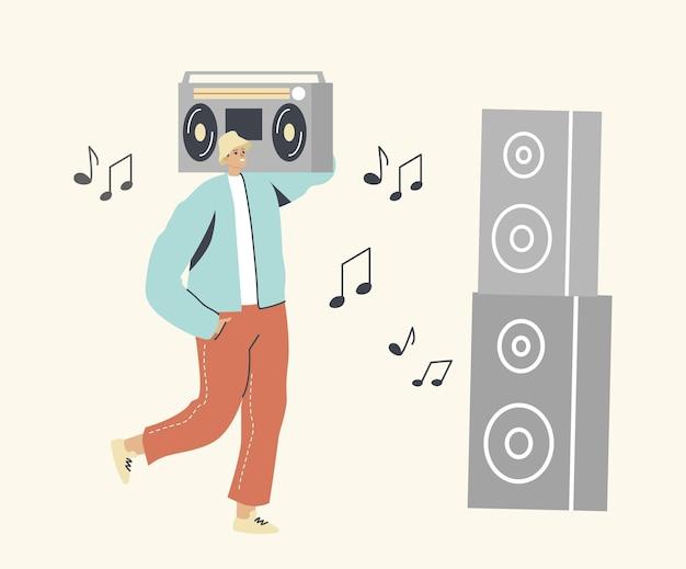 Personaggio maschile che tiene un enorme giradischi in piedi a dynamics che gode di musica