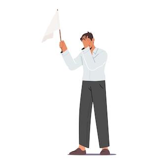 Carattere maschio che tiene bandiera bianca che copre il viso con la mano