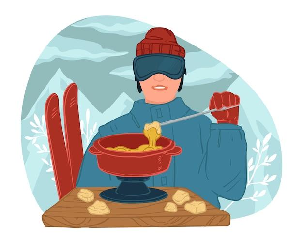 Personaggio maschile che conduce uno stile di vita attivo che mangia zuppa con formaggio. degustazione di sciatori all'aperto nel resort. uomo di sci che gode della cena cucinata. piatto caldo sul tavolo. vettore di inverno in stile piatto
