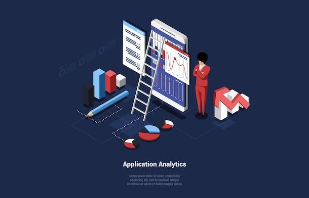 Personaggio maschile vicino a un enorme smartphone grafico e grafici su schermo ladderl e diagrammi isometrici