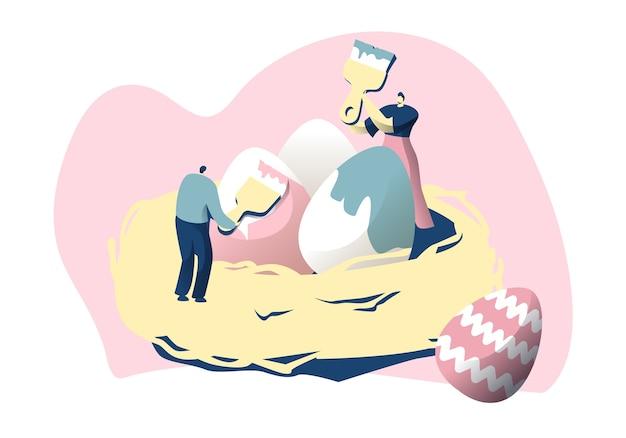Personaggio maschile nel nido decora l'uovo con il pennello poster colorato di pasqua felice. concetto di celebrazione della primavera religiosa tradizionale. cartolina di design. illustrazione di vettore del fumetto piatto