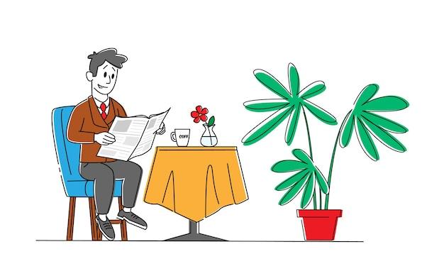 Personaggio maschile leggendo il giornale del mattino e bere caffè seduti al tavolo servito a casa interni isolati su sfondo bianco. l'uomo ottiene informazioni dalla pubblicazione. lineare