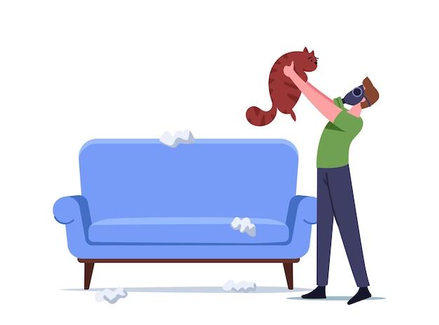 Personaggio maschile nella maschera del respiratore che tiene il gatto protetto dall'allergia che starnutisce sui peli di animali domestici. reazione allergica su animali da pelliccia