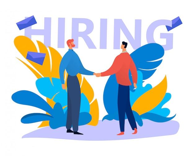 Cercatore di lavoro della mano di scossa del carattere maschio, recluta di ricerca della persona indipendente su bianco, illustrazione. reclutare risorse umane.