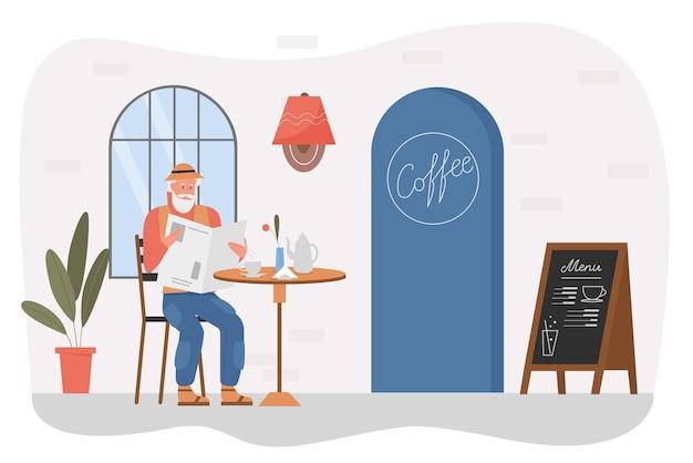Personaggio maschile seduto alla caffetteria all'aperto