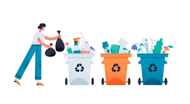 Personaggio maschile che ordina la spazzatura in design piatto