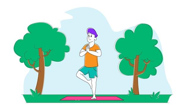 Personaggio maschile in piedi sulla stuoia su una gamba asana engage fitness