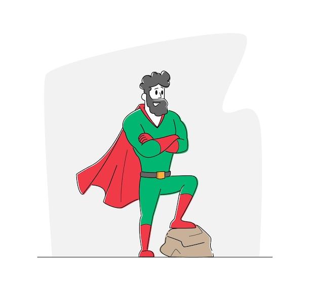 Personaggio maschile in costume da supereroe e mantello rosso in posa con le braccia incrociate