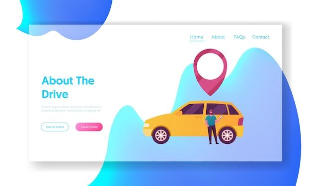 Modello di pagina di destinazione del servizio di car sharing di carattere maschile.