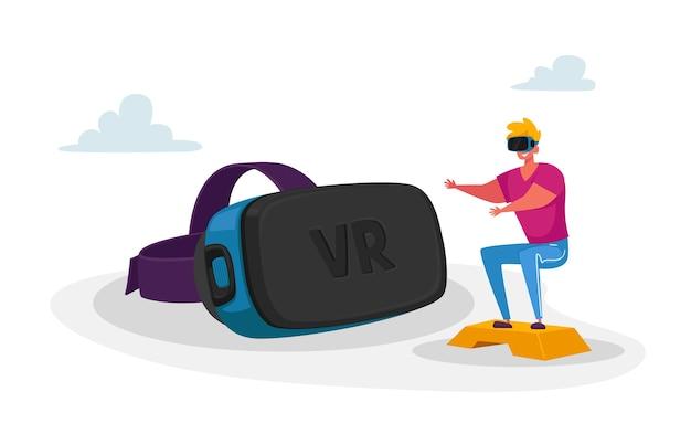 Personaggio maschile in vr goggles training nel cyberspazio di realtà virtuale