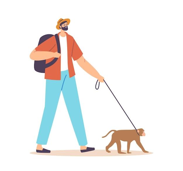 Personaggio maschile che cammina con la scimmia al guinzaglio. viaggiatore o turista con zaino e ape pet isolati su sfondo bianco. cura di animali selvatici, concetto di animali esotici di persone. fumetto illustrazione vettoriale