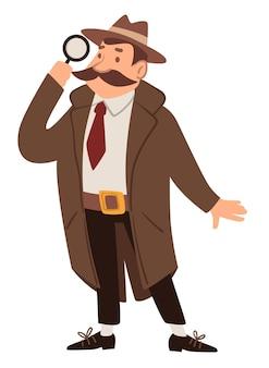 Personaggio maschile che indossa mantello e cappello alla ricerca con lente d'ingrandimento. uomo isolato, detective o spia, sorveglianza o alla ricerca di misteri e segreti. agente in missione. vettore in stile piatto