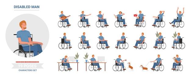 Personaggio maschile con disabilità fisica attività su sedia a rotelle