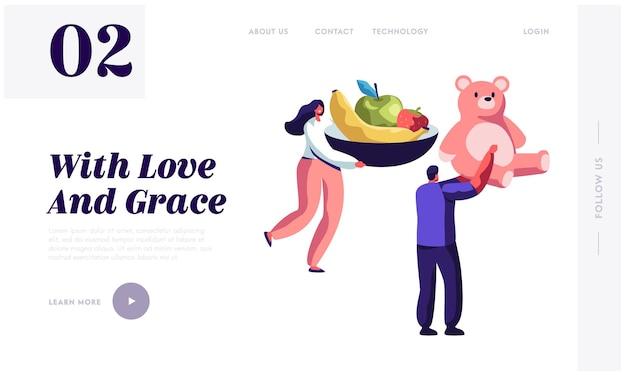 Personaggio maschile con piatto di frutta e uomo con grande orsacchiotto. modello di pagina di destinazione del sito web
