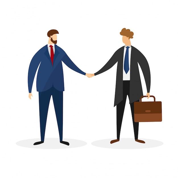 Personaggi maschili in abiti formali si stringono la mano.