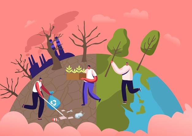 Personaggi maschili che piantano piantine e alberi nel terreno in giardino, rimuovono i rifiuti