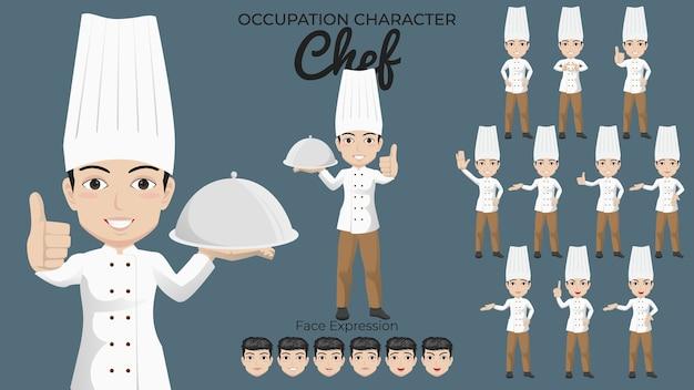 Set di caratteri del cuoco unico maschio con varietà di posa ed espressione del viso