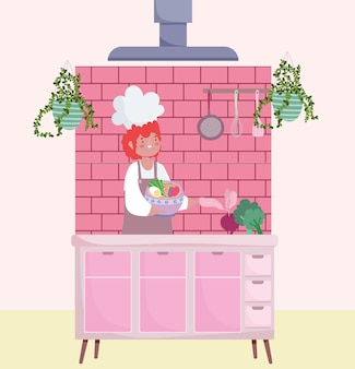 Cuoco unico maschio che cucina con la ciotola
