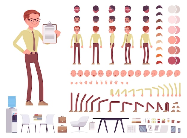 Illustrazione stabilita di creazione del personaggio dell'impiegato maschio