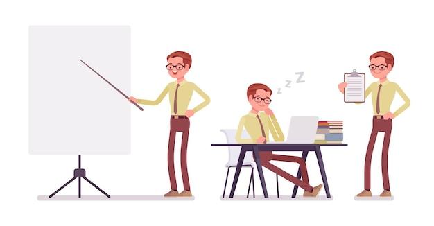 Illustrazione di lavoro dell'impiegato maschio