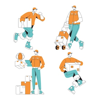 Illustrazione maschio del set di caratteri dell'ufficiale di servizio di consegna per la pagina web