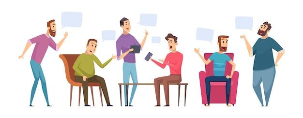 Discussione maschile. gli uomini parlano, le persone hanno conversazioni. illustrazione vettoriale di dialogo club uomo. dibattito e discussione maschile, riunione di conversazione di cartoni animati di persone