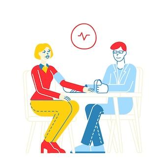 Carattere di endocrinologo medico maschio che misura la pressione sanguigna arteriosa