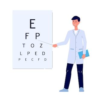 Medico maschio che mostra le lettere sulla scheda del test dell'occhio - uomo del fumetto in uniforme medica in piedi e sorridente davanti al grafico di snellen per la diagnostica della vista. io illustrazione