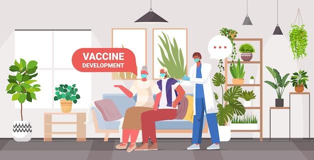 Medico maschio che vaccina pazienti anziani in maschere per combattere contro il concetto di sviluppo del vaccino contro il coronavirus illustrazione orizzontale a figura intera