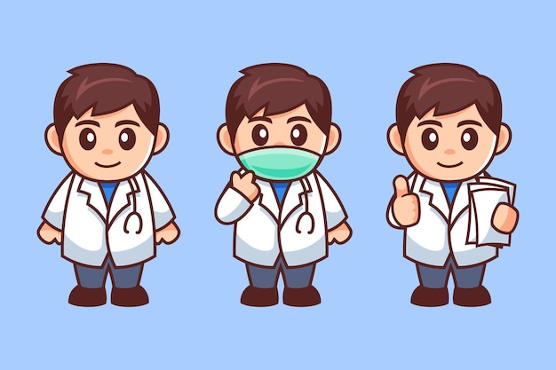 Personaggio dei cartoni animati di maschio medico indossare maschera medica