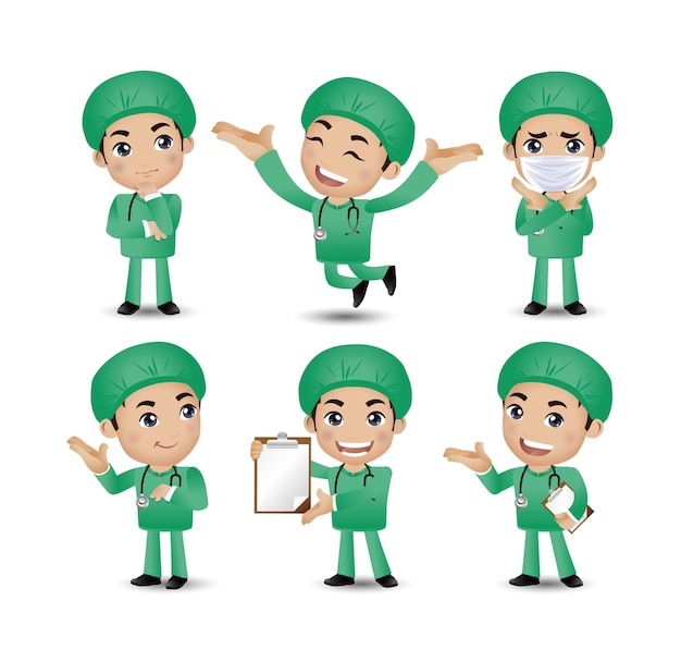 Medico maschio con pose diverse