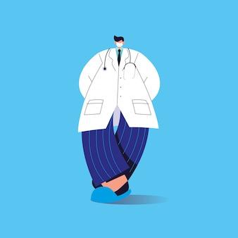 Medico maschio con maschera medica, personale medico