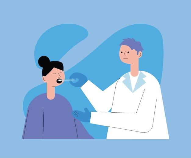 Medico maschio con il paziente che prende il disegno dell'illustrazione della prova covid19