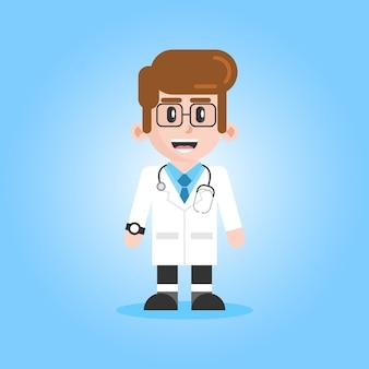 Medico maschio con l'illustrazione del personaggio dei cartoni animati dello stetoscopio