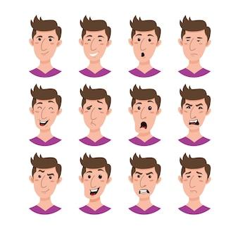Collezione di personaggi dei cartoni animati emoji maschili. set di avatar di giovani uomini emozione stile piatto.