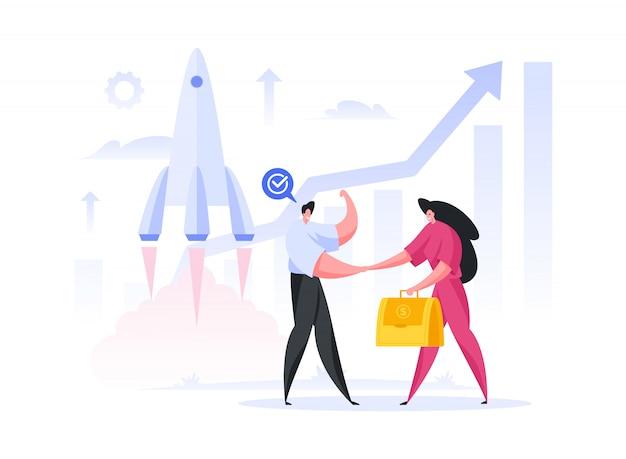Ingegnere maschio che celebra il successo e stringe la mano dell'investitore femminile con un sacco di soldi dopo l'approvazione del promettente progetto spaziale di lancio di un razzo.