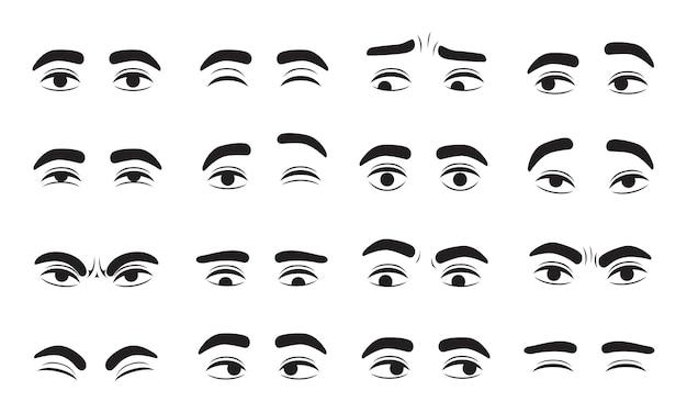 Occhi maschili in diverse emozioni