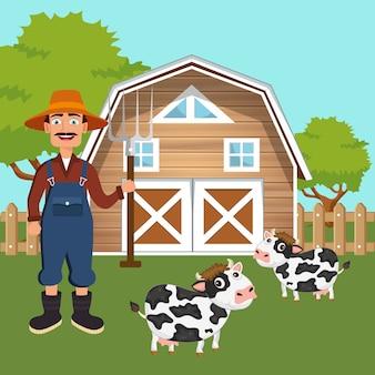Agricoltore maschio che sta nell'aia