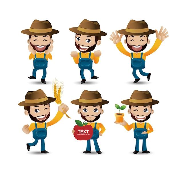 Agricoltore maschio con pose diverse