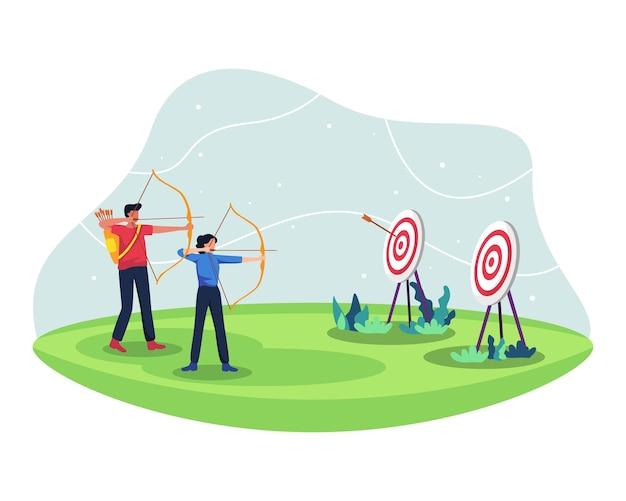 Gli atleti di tiro con l'arco maschili e femminili competono, praticano il tiro con l'arco insieme. arcieri nella partita di tiro con l'arco per la competizione sportiva. in uno stile piatto