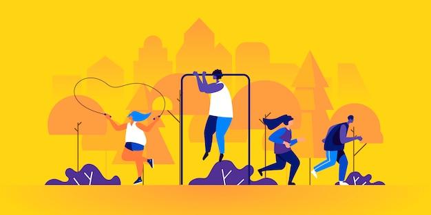 Atleti maschi e femmine, fare jogging o correre, saltare con la corda