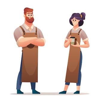 Set di personaggi barista maschile e femminile