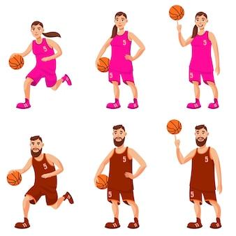 Giocatori di basket maschile e femminile. uomo e donna in diverse pose.
