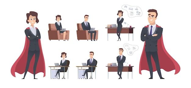 Personaggi aziendali maschili femminili. situazione d'ufficio diversa, supereroe manager o capo squadra. leadership e creazione di nuove idee illustrazione vettoriale. personaggio supereroe femminile e maschile in carica