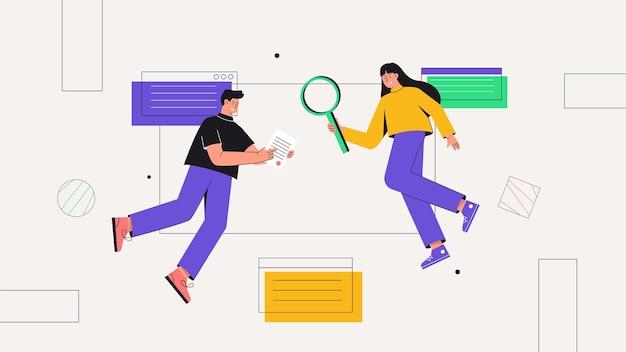 Personaggio maschile e femminile che lavora su sito web o applicazione, progettazione e programmazione dell'interfaccia utente, ricerca e prototipazione.