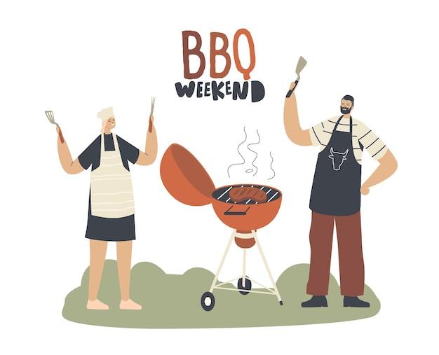 Personaggi maschili e femminili in capo grembiule trascorrono del tempo sul barbecue all'aperto